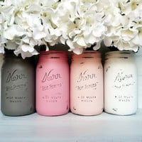 Blush and Mocha Wedding - Painted and Distressed Mason Jars - Centerpiece - Vase / Home Decor