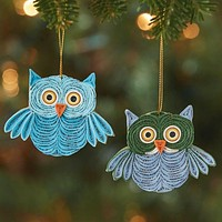Paper Quilled Owl Ornament Set