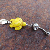 Yellow Turtle Belly Button Ring, Belly Navel Jewelry Belly Ring