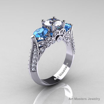 Classic 14K White Gold Three Stone White Sapphire Aquamarine Diamond Solitaire Ring R200-14KWGDAQWS