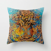Leopard 'ish visions in Costa Rica Throw Pillow by Tommy Noshitsky