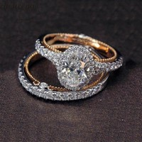 choucong Vintage Promise Ring set Rose Gold Filled AAAAA cz Engagement Wedding Band Rings For Women Bridal Finger Jewelry