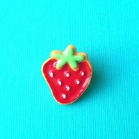 """Handmade Femme Fruit Collection """"Strawberry Sweetie"""" Red Strawberry Brooch Pin Collar Pin"""