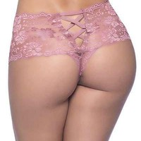 Sexy TFW Floral Lace Crotchless Boyshort
