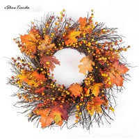 New 1pc 50cm Berry Maple Leaf Fall Door Wreath Door Wall Ornament Thanksgiving Day Christmas Door Decoration