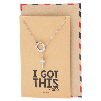 Job's Circle Pendant with Hanging Cross, Christian Jewelry, Religious Item with Greeting Card