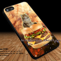 Burger Cat in Space Galaxy Cute Kitty DOP1222 iPhone 6s 6 6s+ 5c 5s Cases Samsung Galaxy s5 s6 Edge+ NOTE 5 4 3 #art
