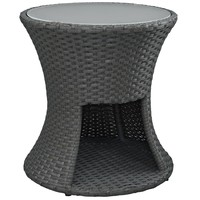 Sojourn Round Outdoor Patio Side Table Chocolate EEI-1980-CHC