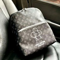 LV 2019 new sun flower print men and women large capacity backpack