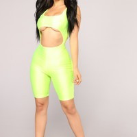 Cut To The Chase Cutout Romper - Neon Yellow