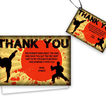 Karate Thank You Cards - Boys Karate Birthday Party Thank You Tags - Party Favor Tags - Ninja Thank You Card - Martial Arts Party Kung fu