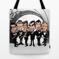 Faces of Bond Tote Bag by BinaryGod.com