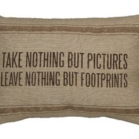 Take Nothing But Pictures, Leave Nothing But Footprints - Cabin Lake Canvas Throw Pillow - 15-in x 10-in