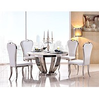 White Brilliant Center Dining Table Set For Dining Decor