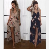 2018 New Women's Sleeveless Floral Print Casual Loose Fashion Jumpsuits Casual Ladies Sexy Bodysuit Romper Women MLD780