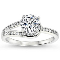 Moissanite Engagement Diamond Accented Engagement Ring - It's a Wrap