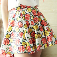 Yellow Summer Floral Pleated Skirt