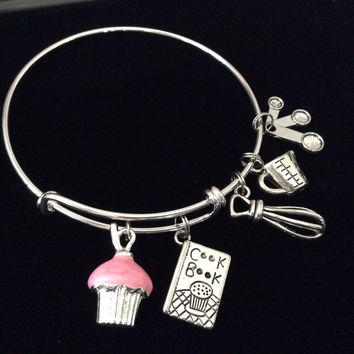 Baker's Dream Silver Bangle Bracelet Adjustable Expandable Chef Gift Cookbook Kitchen Equipment Pink Cupcake Silver Wire Bangle