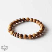 Hand-Crafted Lampwork Glass & Natural Wood Mala Bracelet