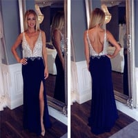 fashion luxury navy blue long prom dress 2016 backless beaded low chest high slit women pageant Dress for formal party