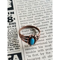 Vintage Navajo copper ring with turquoise size 7.5