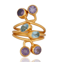 18K Gold Plated Sterling Silver Amethyst And Blue Topaz Gemstone Knuckle Ring