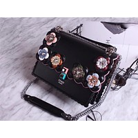 FENDI NEW FLOWERS STYLE LEATHER HANDBAG SHOULDER BAG