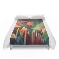 Society6 Rising Mountains Duvet Cover