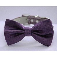 Purple wedding dog collar,  Dog Bow tie attach to high quality leather collar, Wedding accessory, Xlarge dog collar , Wedding dog collar