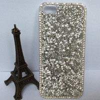 Big Mango Superior Quality Deluxe Full Bling Diamond Rhinestone Protective Shell / Hard Back Case Cover for Apple iPhone 5 5s 5g with Clear Frame ( At&t, Sprint, Verizon ) - Silver