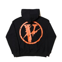 Tide brand oversize hoodie Vlone life lightning joint name loose men and women hooded pullover sweater coat