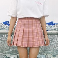 2017 Women's Kawaii Aa High Waist Plaid Pleated Skirt Female Japanese Harajuku Preppy Style Grid Skirts For Women