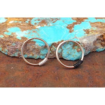 Rose Gold Hoop Earring - You Choose Wire Wrapping Color