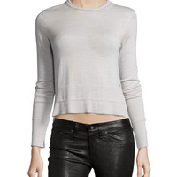 Leanna Crew-Neck Merino Top, Light Gray, Size: