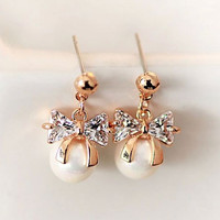 Bow and Pearl Rhinestone Earrings