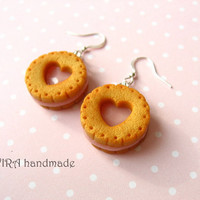 Realistic cookie earrings with strawberry filling