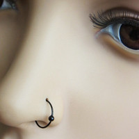 24gauge thin Black plated on Sterling silver nose hoop with ball (1pc)