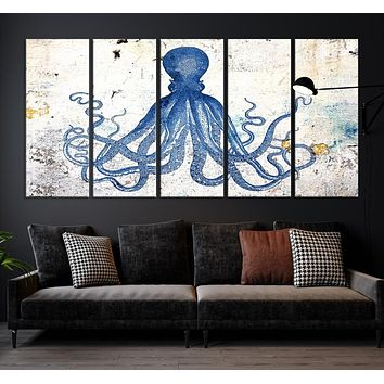 Large Abstract Octopus Large Wall Art Canvas Print
