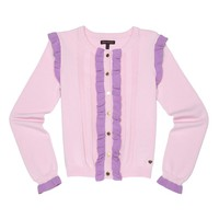 Whisper Pink Textured Ruffle Cardigan by Juicy Couture,