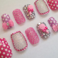 Candy False Nails 3D Nail Art Pink Glitter by CustomNailDesigns