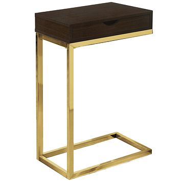 "Accent Table for Living Room - 10'.25"" x 15'.75"" x 24'.5"" Cappuccino, Gold, Laminate, Particle Board, Drawer - Accent Table"