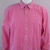 Tommy Hilfiger Shirt Mens Long Sleeve Button Up Gingham Plaid Red White Sz XXL