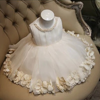 Real Photos Ball Gown Tulle Pearl Flower Girl Dresses For Weddings 2015 First Communion Dresses Pageant Dresses MD F89