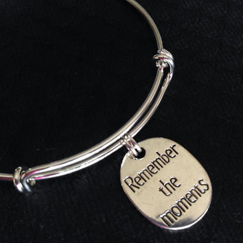 Remember The Moments on a Silver Expandable Bangle Adjustable Bracelet Meaningful Graduation Reunion Gift