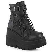 "Demonia 4 1/2"" Black Vegan Leather Wedge Platform"
