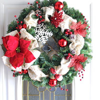 Christmas Wreath, Christmas Decor, Evergreen Wreath, Holiday Decor