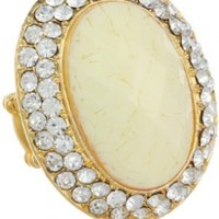 Amrita Singh Crystal and Resin Oval Adjustable Stretch Ring