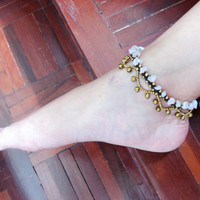 Handmade Rose Quartz With Nice Bell and Brass Bead Anklet Thailand Fair Trade Jewelry  (AK008-PI)