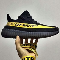 Off-White x Adidas Yeezy Boost 350V2 Sneakers Sport Shoes Black+yellow