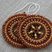 yellow bronze earrings victorian earrings beaded earrings, hoop earrings, seed beads earrings, beadwoven earrings, beadwork, dangle earrings